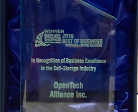 OpenTech Voted Best Self Storage Call Center for 2016